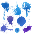 Blue ink blot collection isolated on white backgro vector image vector image