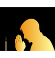 prayer and candle background vector image vector image