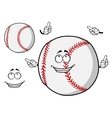 Happy cartoon baseball ball pointing its fingers vector image