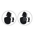 Detective pipe smoker silhouette Sherlock Holmes vector image