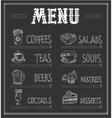 Chalkboard Menu Template of Food and Drinks vector image
