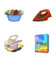 a bowl with laundry iron ironing press washing vector image