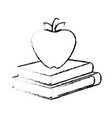 books with apple fruit vector image