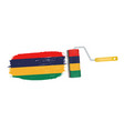 brush stroke with mauritius national flag isolated vector image