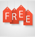 four large orange tags with the word free vector image