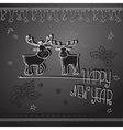 Hand drawn Christmas deers and handwritten words vector image