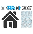 Open House Door Icon with 1000 Medical Business vector image