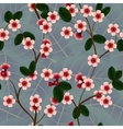 Seamless pattern with pink cherry flowers and leaf vector image