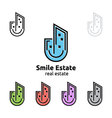 smile home represented real estate logo vector image