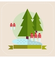 Trees and mushrooms flat icon vector image