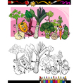 funny vegetables cartoon for coloring book vector image