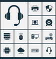 computer icons set collection of keypad tree vector image