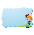 border template with boy holding red flag vector image