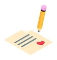 Card with heart isometric 3d icon vector image