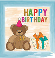 childish birthday card with teddy bear vector image