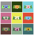 flat icons set trailer in forest vector image