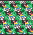 scarlet macaw and monstera seamless pattern vector image