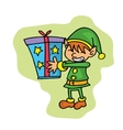 Small elf with gift Christmas character vector image