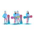snowboard character set vector image