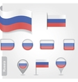 The Russian flag - set of icons and flags vector image