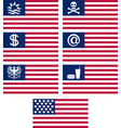 set of fantasy american flags vector image vector image