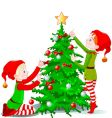elves decorate a christmas tree vector image vector image