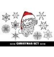 Christmas Doodle set include Santa with red hat vector image