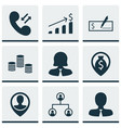 set of 9 management icons includes tree structure vector image