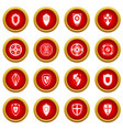 shields set icon red circle set vector image