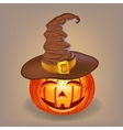 Good pumpkin in a witch hat for Halloween vector image vector image