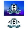 Marine banner with lighthouse and anchor vector image