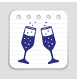 Doodle Champagne Glasses icon vector image