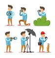 photographer cartoon character set vector image