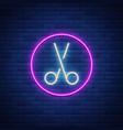 scissors neon sign icon design element for logo vector image