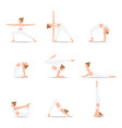 women yoga poses isolated on white background vector image