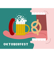 Man eating pretzel beer and sausage Traditional vector image