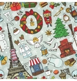 Paris winterDoodle christmas symbols seamless vector image