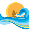 Surfing man on blue wave vector image