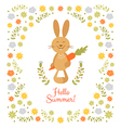 Cute summer card with little rabbit vector image vector image