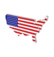 USA map with american flag texture cartoon icon vector image vector image