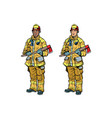african american and caucasian firemen in uniform vector image