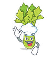 chef celery character cartoon style vector image