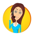 customer support operator with sunny eyes vector image