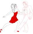 Dancers lines salsa vector image