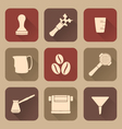 flat style white coffee barista instruments icons vector image
