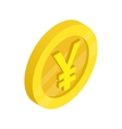 Gold coin with yen sign icon isometric 3d style vector image