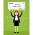 Woman with check for one million dollars in hands vector image