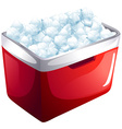 Red icebox full of ice vector image
