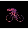 Cyclist in a bike race Neon clipart vector image
