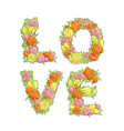 word love from flowers vector image vector image